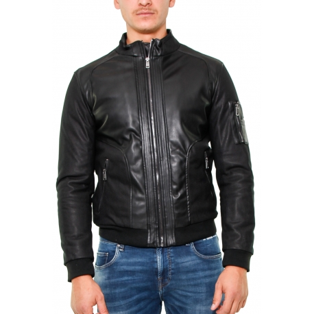 buy popular 60c4a dd018 GIUBBINO BI-MATERIALE TESSUTO ECOPELLE, NERO - Formica Abbigliamento