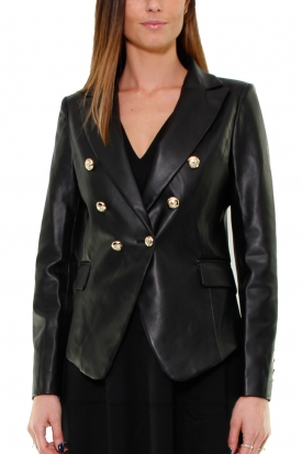 BLAZER IN ECOPELLE, NERO