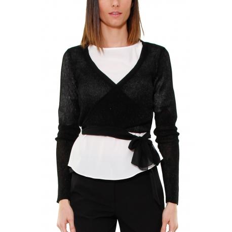 timeless design 620de 0815e MAGLIA SCALDACUORE A COSTINE, NERO - Formica Abbigliamento
