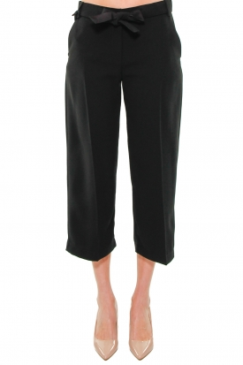 PANTALONE CROPPED IN CREPE, NERO
