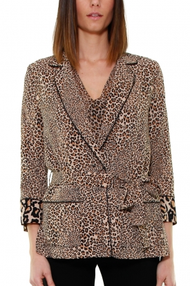 BLAZER IN CREPE ANIMALIER, NERO