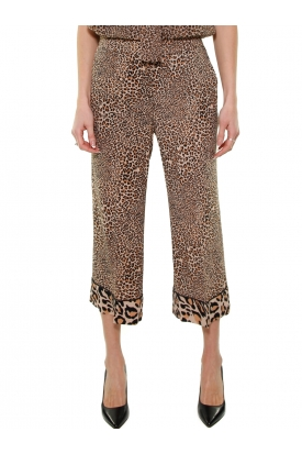 PANTALONE CROPPED IN CREPE ANIMALIER, NERO