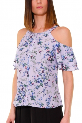 TOP IN GEORGETTE A FIORI, LILLA