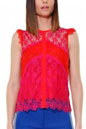 TOP IN PIZZO MACRAME' COLOR BLOCK, ROSSO