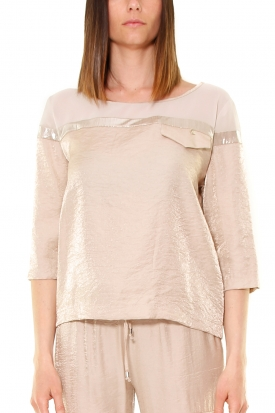 BLUSA BOXY IN RASO E GEORGETTE, GOLD
