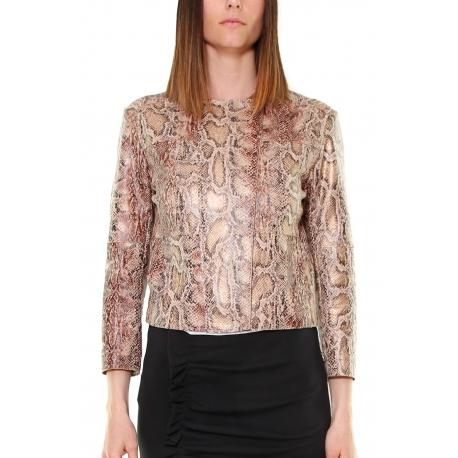 size 40 f515f 65cb4 GIACCA GIROCOLLO IN ECOPELLE STAMPA PITONE, ROSA - Formica Abbigliamento