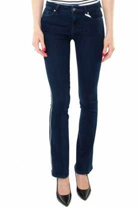 JEANS BOOT CUT CON CATENELLA DI STRASS, BLU