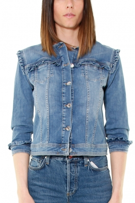 GIACCA GIROCOLLO IN DENIM CON ROUCHES, BLU