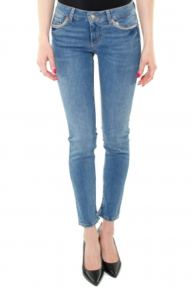 JEANS SKINNY BOTTOM UP CON CATENELLE, BLU