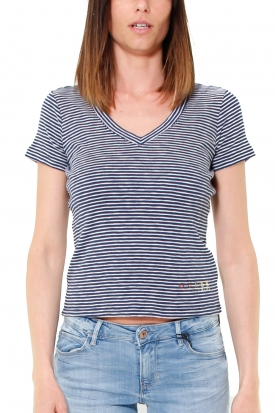 T-SHIRT A RIGHE CON SCOLLO A V, BLU