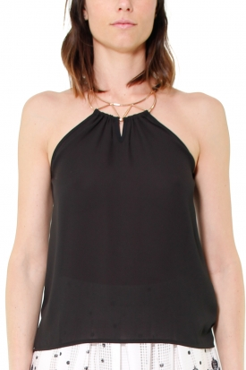 TOP COLLIER SCOLLO ALL'AMERICANA, NERO