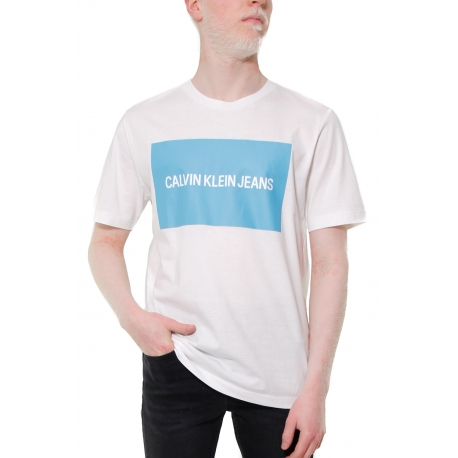 T-SHIRT CON STAMPA LOGO FRONTALE, BIANCO
