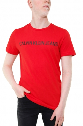 T-SHIRT CON STAMPA LOGO FRONTALE, ROSSO
