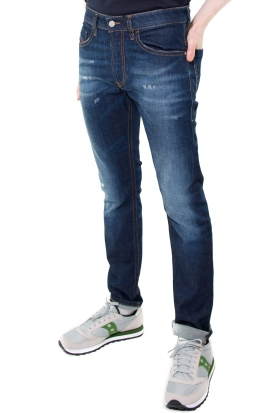 JEANS SLIM IN DENIM STONE WASHED MODELLO THOMMER, BLU