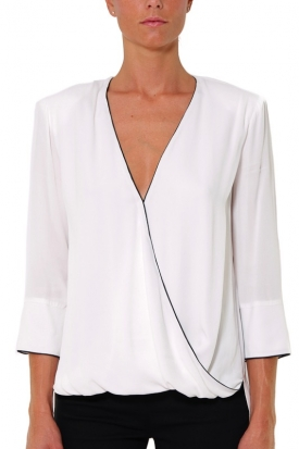 BLUSA IN GEORGETTE DI VISCOSA CON PIPING, BIANCO