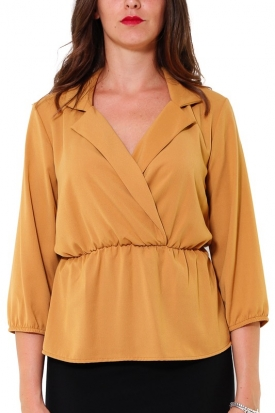BLUSA SCOLLO INCROCIATO CON REVERES, GIALLO