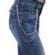 JEANS MOM FIT CON CATENA DI STRASS, BLU