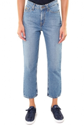 JEANS MOM FIT CROPPED IN DENIM, BLU