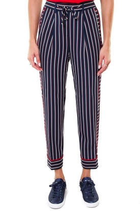 PANTALONE A RIGHE CON COULISSE, BLU