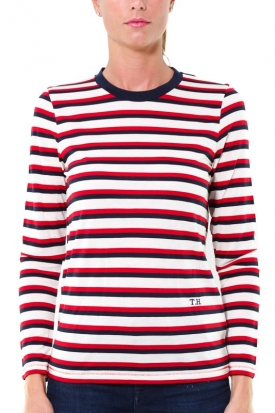 T-SHIRT A RIGHE MANICA LUNGA IN LYOCELL, ROSSO