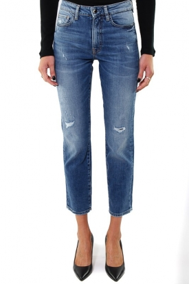 JEANS A SIGARETTA VITA ALTA IN DENIM USED, BLU
