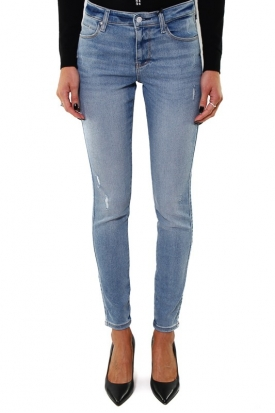 JEANS SKINNY SEXY CURVE IN DENIM EFFETTO USED, BLU