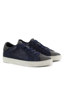 SNEAKERS LOW CUT IN PELLE, BLU