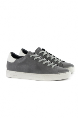 SNEAKERS LOW CUT IN PELLE, GRIGIO