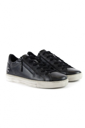 SNEAKERS LOW CUT IN PELLE CON DOPPIA ZIP, NERO
