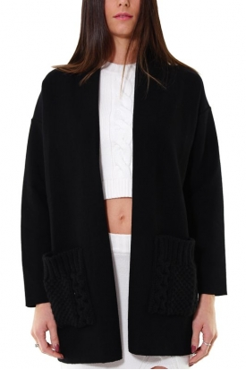 CARDIGAN LINEA OVER CON TASCHE APPLICATE, NERO