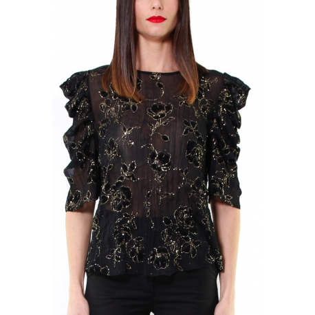 BLUSA IN TULLE DEVORE E LUREX, NERO