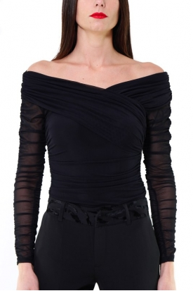 BODY IN TULLE STRETCH DRAPPEGGIATO, NERO