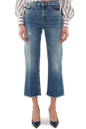 JEANS MOM FIT IN DENIM USED, BLU