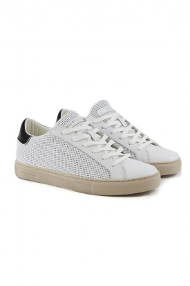 SNEAKERS LOW IN PELLE TRAFORATA, BIANCO