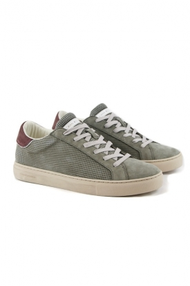 SNEAKERS LOW IN PELLE TRAFORATA, VERDE