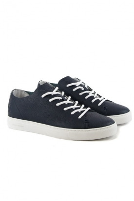 SNEAKERS LOW IN PELLE TAGLIO VIVO, BLU