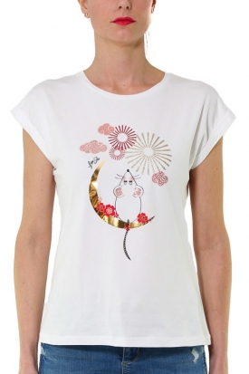 T-SHIRT CON STAMPA E STRASS, BIANCO