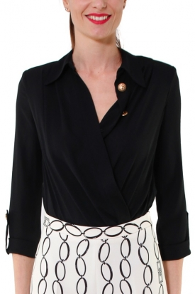 CAMICIA A BODY CON SCOLLO INCROCIATO, NERO