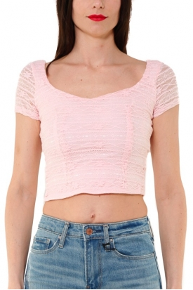 TOP CROPPED IN PIZZO STRETCH, ROSA