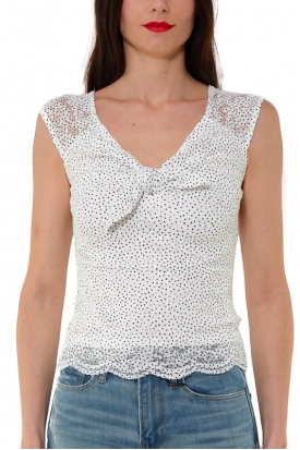 TOP IN PIZZO STAMPA POIS, BIANCO