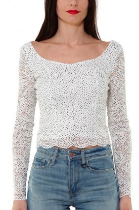TOP MANICA LUNGA IN PIZZO STRETCH STAMPA POIS, BIANCO