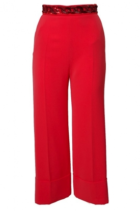 PANTALONE CROPPED A PALAZZO IN CREPE, ROSSO