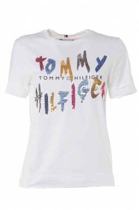 T-SHIRT CON LOGO PAILLETTES MULTICOLOR, BIANCO