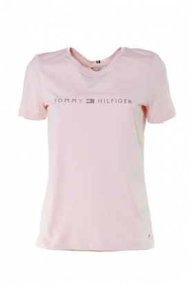 T-SHIRT CON LOGO DI STRASS IN COTONE BIOLOGICO, ROSA