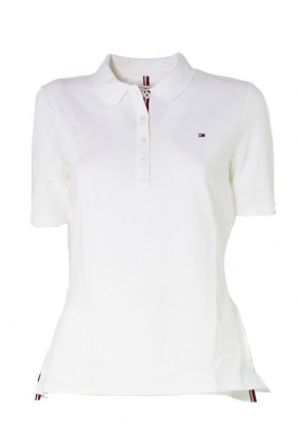 POLO PIQUET STRETCH CON BANDIERINA LOGO, BIANCO