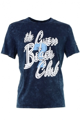 T-SHIRT EFFETTO STONE WASHED CON STAMPA, BLU