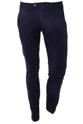 PANTALONE SLIM IN GABARDINA STRETCH, BLU