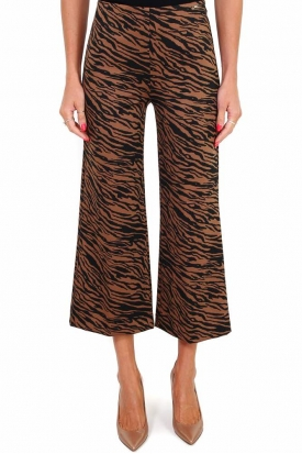 PANTALONE CROPPED IN JERSEY FANTASIA ANIMALIER, CAMMELLO