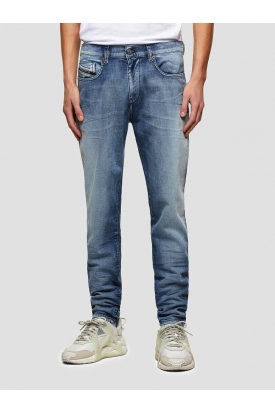 JEANS SLIM IN DENIM STRETCH STONE WASHED, BLU