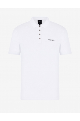 POLO IN JERSEY CON LOGO, BIANCO